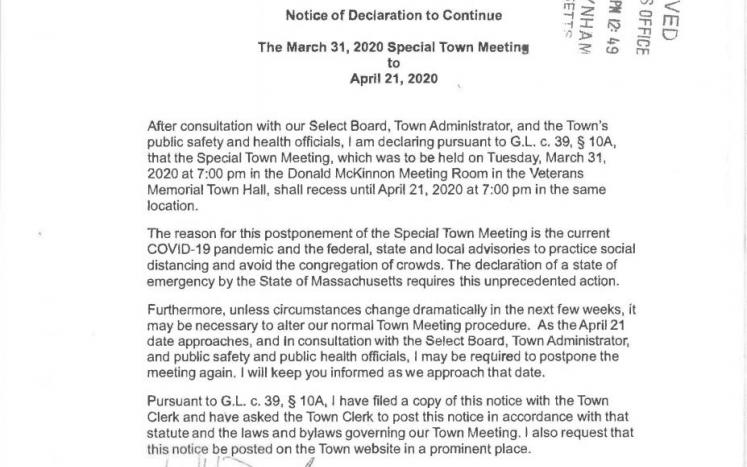 Declaration to continue 3-31-2020 Special Town Meeting to 4-21-2020