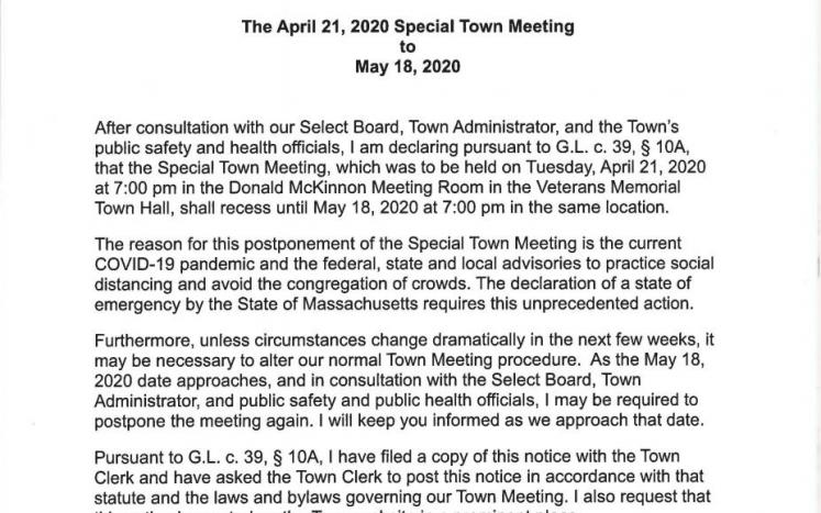 Special Town Meeting of April 21, 2020 changed to May 18, 2020