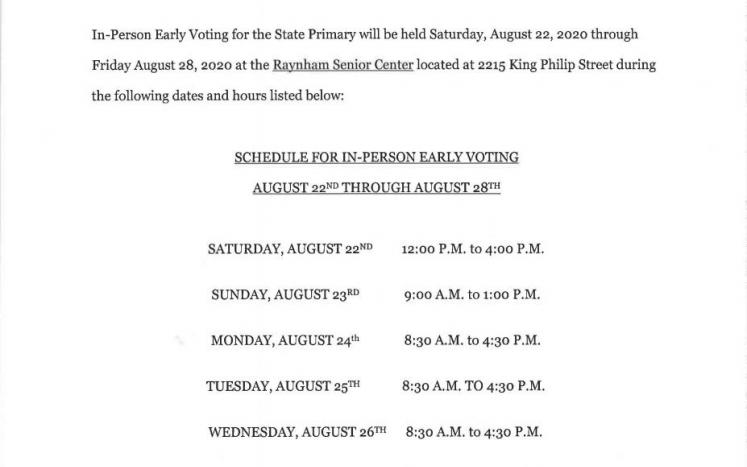 Early Voting Schedule for 2020 State Primary