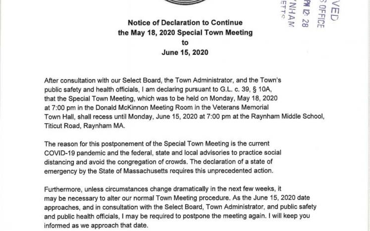 Special Town Meeting of May 18, 2020 changed to June 15, 2020