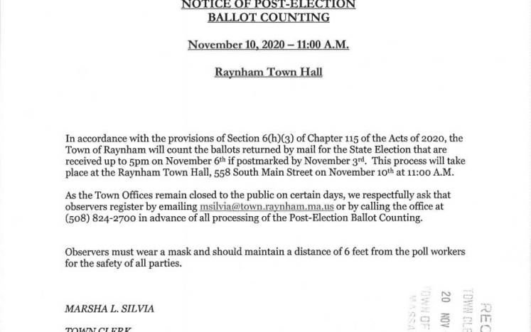 Post Election Ballot Counting Notice 11-10-20